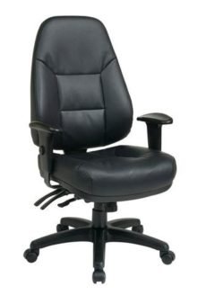 Find Office Star Work Smart EC4350-EC3 Deluxe Multi Function High Back Black Eco Leather Chair with Ratchet Back and 2-Way Adjustable Arms near me at OFO Orlando