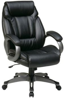 Find Office Star Work Smart ECH30627-EC3 Executive Eco Leather Chair with Padded Arms and Coated Base near me at OFO Orlando