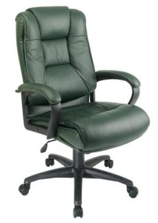Find Office Star Work Smart EX5162-G16 Executive High Back Green Glove Soft Leather Chair with Padded Loop Arms near me at OFO Orlando