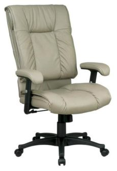 Find Office Star Work Smart EX9382-1 Deluxe High Back Executive Deluxe Coated Tan Leather Chair with Pillow Top Seat and Back near me at OFO Orlando