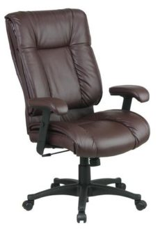 Find Office Star Work Smart EX9382-4 Deluxe High Back Executive Deluxe Coated Burgundy Leather Chair with Pillow Top Seat and Back near me at OFO Orlando