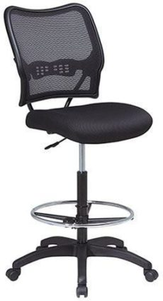 Find Office Star Space Seating 13-37N20D Deluxe AirGrid® Back Drafting Chair with Black Mesh Seat and Adjustable Footring and Nylon Base near me at OFO Orlando