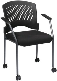 Find Office Star Pro-Line II 8640-30 Titanium Finish Rolling Black Visitors Chair with Casters