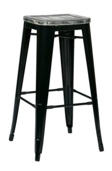 "Shop Bristow 30"" Antique Metal Barstool with Vintage Wood Seat"