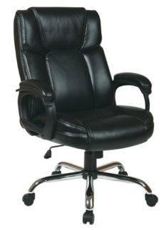 Find Office Star Work Smart EC1283C-EC3 Executive Black Eco-Leather Big Mans Chair with Padded Loop Arms and Chrome Base near me at OFO Orlando