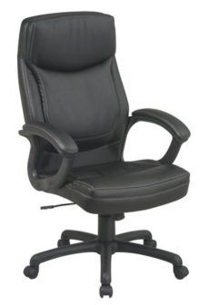 Find Office Star Work Smart EC6582-EC3 Executive High Back Black Eco Leather Chair with Locking Tilt Control and Two Tone Stitching near me at OFO Orlando
