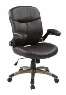 Find Work Smart ECH37811-EC1 Executive Mid Back Eco Leather Chair with Adjustable Padded Flip Arms near me at OFO Orlando