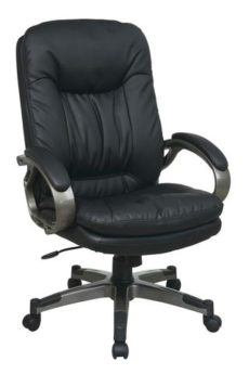 Find Office Star Work Smart ECH83507-EC3 Executive Black Eco Leather Chair with Padded Arms and Titanium Coated Frame near me at OFO Orlando