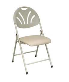 Find Office Star Work Smart FC8100NBG-11 Folding Chair with Beige Plastic Fan Back and Beige Mesh Seat (4-Pack) near me at OFO Orlando
