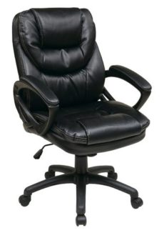 Find Office Star Work Smart FL660-U6 Faux Leather Managers Chair with Padded Arms near me at OFO Orlando