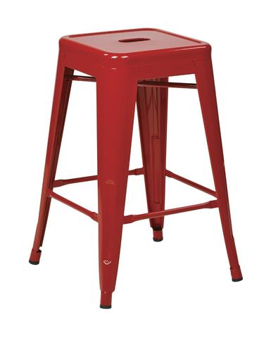 "Find Work Smart / OSP Designs PTR3024A4-9 24"" Steel Backless Barstool (4-Pack) (Red) near me at OFO Orlando"