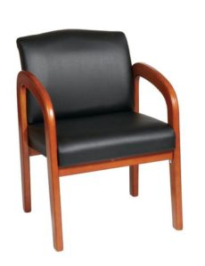 Find Office Star Work Smart WD380-U6 Black Faux Leather Oak Finish Wood Visitors Chair near me at OFO Orlando