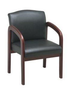 Find Office Star Work Smart WD387-U6 Cherry Finish Wood Visitor Chair with Black Triangle Fabric near me at OFO Orlando