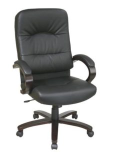 Find Office Star Work Smart WD5380-EC3 Eco Leather High Back Chair with Espresso Finish Wood Base and Padded Arms near me at OFO Orlando