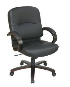 Find Office Star Work Smart WD5381-EC3 Eco Leather Mid Back Chair with Espresso Finish Wood Base and Padded Arms near me at OFO Orlando