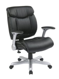 Find Office Star Work Smart ECH8967R5-EC3 Executive Eco Leather Chair in Silver/Black near me at OFO Orlando