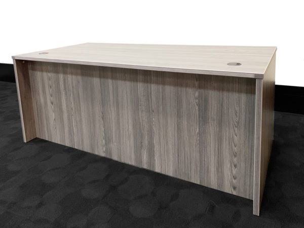 Grey Executive Desk in White/Cherry at Office Liquidation