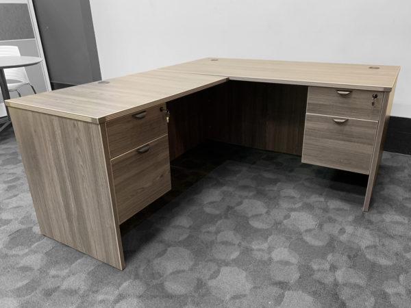 Laminate L-shape Desk in Cherry at Office Liquidation