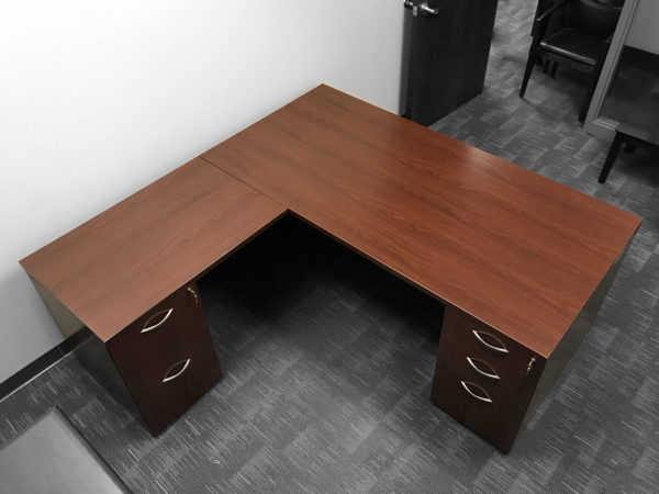 Find used l-shaped cherry desks at Office Liquidation