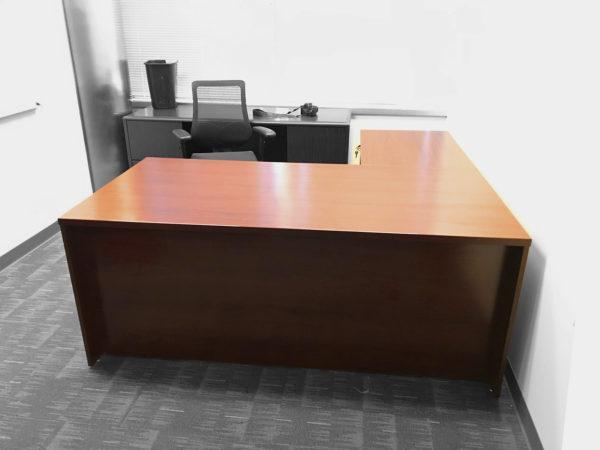 Office Liquidation Pre-Own L-Shaped Cherry Desk