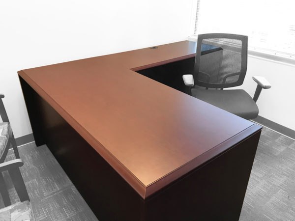 L-Shaped Mahogany Desk in Mahogany at Office Liquidation