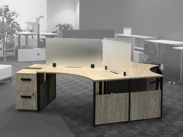 Single 120 Degree Desk in Stone 3DE03 at Office Liquidation