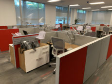 Find used Compose Cubicles Work Station Updated With Sitting Standing Electric Height Adjustable Tables.s at Office Furniture Outlet