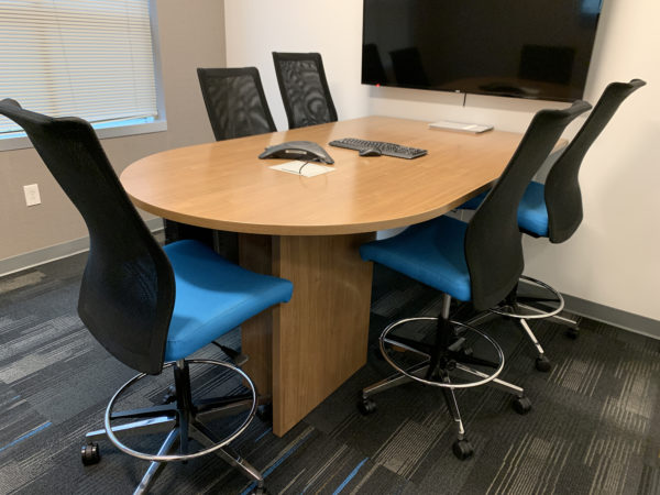 Haworth D-Shaped Convergent Worksurface 30D X 72W in River Cherry at Office Furniture Outlet