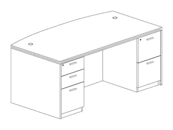 3641x71 Bow Desk in Espresso at Office Furniture Outlet