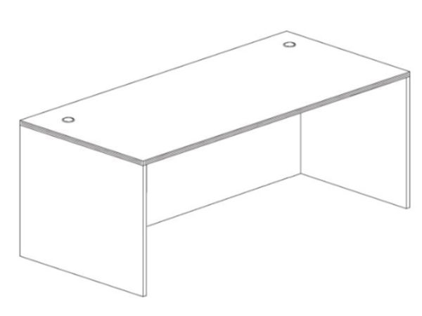 30x66 Desk Shell in Gray at Office Furniture Outlet