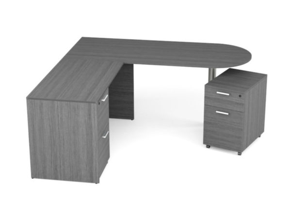 Find used KUL 71x72 d-top l-shape desk w1 ff and 1 mobile ped bf (gry)s at Office Furniture Outlet