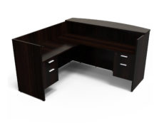 Find used KUL 71x72 l-shape reception desk (left) w 2 bf ped (esp)s at Office Furniture Outlet