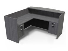 Find used KUL 71x72 l-shape reception desk (left) w 2 bf ped (gry)s at Office Furniture Outlet