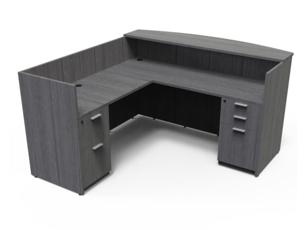 Find used KUL 71x72 l-shape reception desk (left) w 1bbf and 1ff ped (gry)s at Office Furniture Outlet