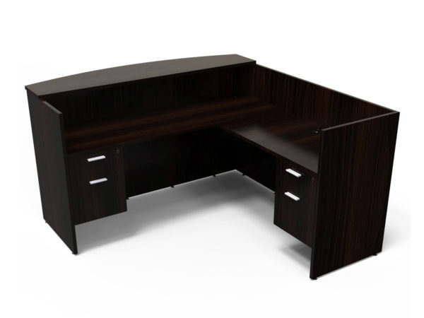 Find used KUL 71x72 l-shape reception desk (right) w 2 bf ped (esp)s at Office Furniture Outlet