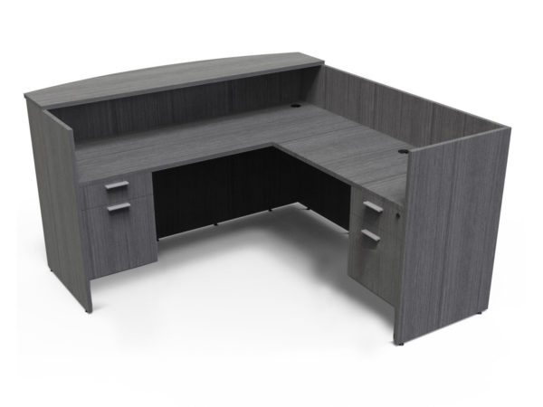 Find used KUL 71x72 l-shape reception desk (right) w 2 bf ped (gry)s at Office Furniture Outlet