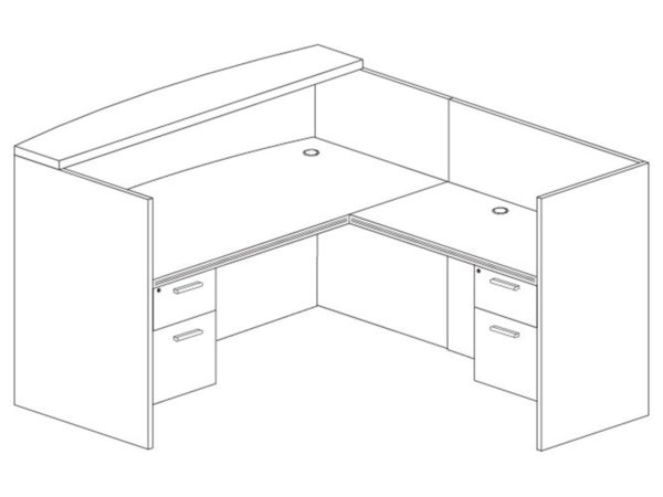 Office Furniture Outlet New 71x72 L-Shape Reception Desk (Right)