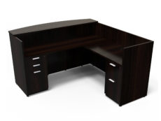 Find used KUL 71x72 l-shape reception desk (right) w 1 bbf and 1 ff ped (esp)s at Office Furniture Outlet