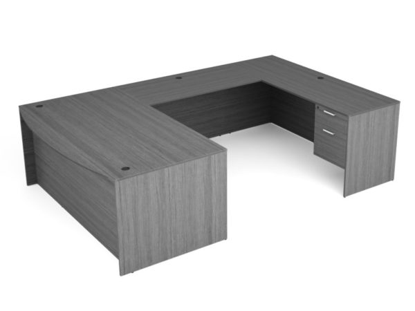 Find used KUL 71x108 bow front u-shape desk w 2bf ped (gry)s at Office Furniture Outlet
