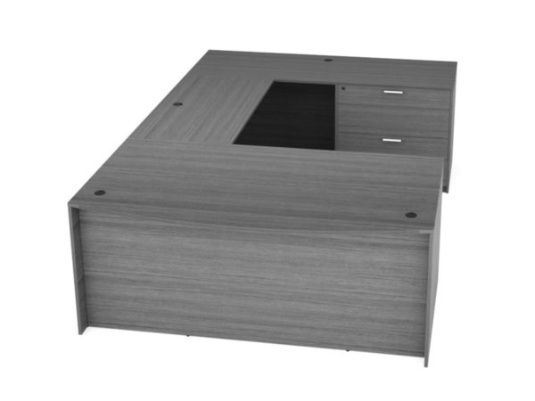 "Find used KUL 71x108 bow front u-shape desk w 1bbf ped and 1 30"" 2 drawer (gry)s at Office Furniture Outlet"