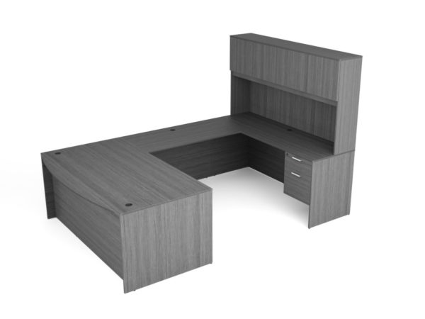Find used KUL 71x108 bow front u-shape desk + hutch (wood doors) w 2 bf ped (gry)s at Office Furniture Outlet