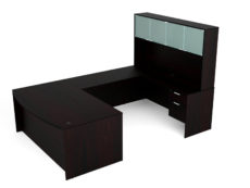Find used KUL 71x108 bow front u-shape desk + hutch (glass doors) w 2 bf ped (esp)s at Office Furniture Outlet