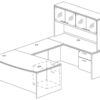 Office Furniture Outlet New 71x108 Bow Front U-Shape Desk + Hutch (Glass)