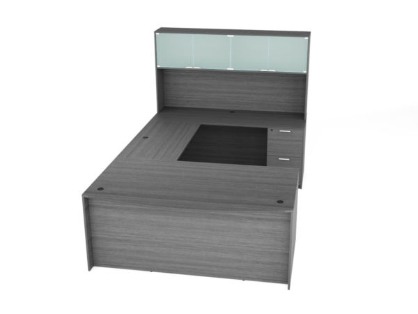 Find used KUL 71x108 bow front u-shape desk + hutch (glass doors) w 1bbf and 1ff ped (gry)s at Office Furniture Outlet