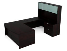 "Find used KUL 71x108 bow front u-shape desk + hutch (glass doors) w 1bbf and 30"" 2 drawer lateral (esp)s at Office Furniture Outlet"