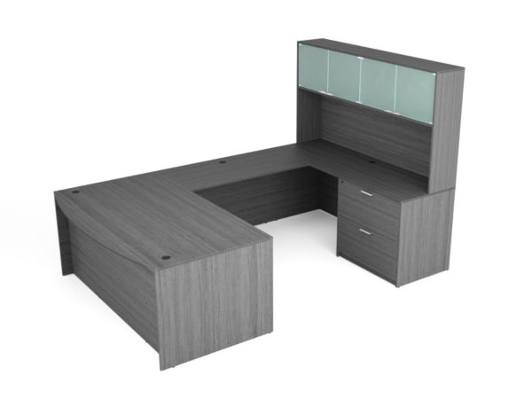 """Find used KUL 71x108 bow front u-shape desk + hutch (glass doors) w 1bbf and 30"""" 2 drawer lateral (gry)s at Office Furniture Outlet"""