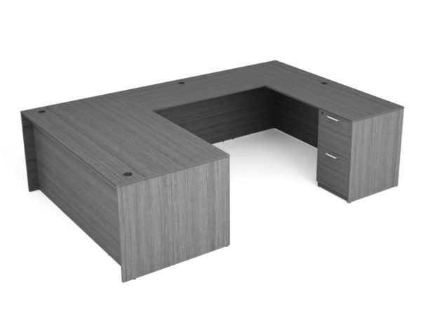 Find used KUL 71x108 u-shape desk w/ 1bbf and 1ff ped (gry)s at Office Furniture Outlet