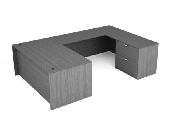 """Find used KUL 71x108 u-shape desk w/ 1bbf and 1 30"""" 2 drawer lateral (gry)s at Office Furniture Outlet"""