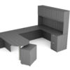 Find used KUL 71x102 d-top u-shape desk + hutch (wood doors) w 1ff and 1 bf ped (gry)s at Office Furniture Outlet