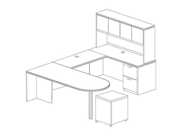 Office Furniture Outlet New 71x102 D-Top U-Shape Desk + Hutch (Wood)